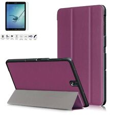 """Premium Leather Slim Case Stand Cover for Samsung Galaxy Tab S3 T820 9.7"""" Inch Purple"""