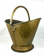 Antique Victorian Brass Coal Scuttle Log Basket Helmet Shaped Swing Handle