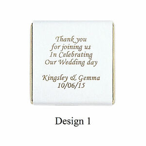 100 Chocolate with personalised wrappers great for wedding Favours
