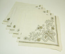 """Set of Six Hand Embroidered and Drawn Thread Dinner Napkins - 20"""" Square"""