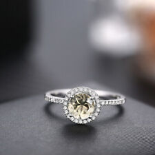 14K White Gold Engagement Wedding 1.2ct Round Peridot & Natural Diamonds Ring