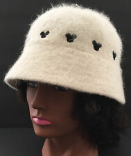 VTG Bucket Cap Hat Disneyland Disney Resort White Rabbit Fur Black Mickey Mouse
