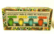 1940s Para El Juego Del Parcheesi Spain Wood Dice Barrel Chips Set Very Rare