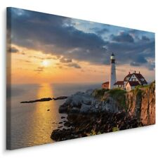 Leinwand Bild CANVAS WANDBILD Kunstdruck XXL Meer Leuchtturm Sonne Abend 679