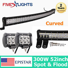 """53"""" 300W EPISTAR LED LIGHT BAR CURVED DRIVING COMBO OFFROAD 4WD JEEP 18W SPOT 52"""