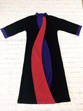 Vtg Vanity Fair Funky Black Pink Purple Robe Housecoat Sz Small Half Zip USA