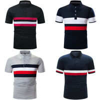 New Mens Colorblock Striped Polo Shirt Short Sleeve Casual Cotton T Shirt Golf T