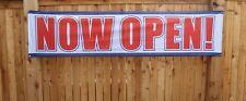 Big Now Open Banner Sign 2x8 feet Store Restaurant Re-Opening Outdoor Vinyl Mesh