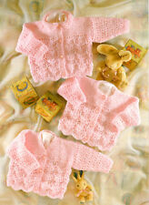 """Knitting Pattern Scalloped Lacy Baby Cardigans Choice of Necklines DK 16"""" - 26"""""""
