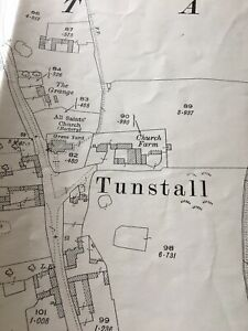 1927 Large Map Antique Plan TUNSTALL VILLAGE HOLDERNESS NORTH SEA MANCAVE OFFICE