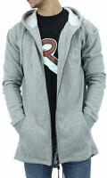 YLD Men's Grey Long Fishtail Zip Up Hoodie Jacket, New Hip Hop Star Era, G Coat