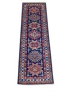 8 foot Super Kazak Runner Blue 234 x 76 cm Genuine Handmade Small runner rugs