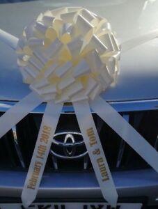 Personalised wedding car bow + 6 metres of ribbon Giant wedding gift bow