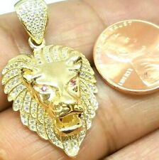 """GOLD Lion head pendant 14k Real Yellow Simulated Diamond Ruby necklace 1.40"""""""