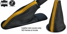 BLACK YELLOW STRIPE TOP GRAIN LEATHER BOOT SET  FOR BMW MINI COOPER R55 R56 R57