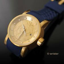 Mens Invicta S1 Rally Yakuza Dragon Automatic Gold Plated SS Blue Silicone Watch