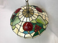 Antique Vtg Arts & Crafts Leaded Slag Stained Glass Hanging Lamp Shade Fruit 13""