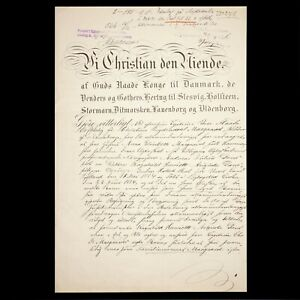 King Christian IX Denmark Signed Document Royalty Autograph Manuscript The Crown