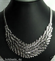 Chunky Boho Statement Layered Silver Leaf Feather Classic Designer Necklace