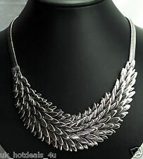 Chunky Boho Statement Layered Silver Leaf Feather Classic DESIGNER Necklace Style 2 Gift Bag