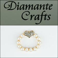 3D Ring Pearl with Heart Gold Alloy Encrusted Clear Diamante Cabochon - 2013R