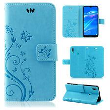 Huawei Y7 2019 Handy Tasche Handyhülle Wallet Schutz Hülle Blumen Cover Etui Neu