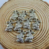 100pcs Antique Silver Alloy Cute Rabbit Shaped Pendants Charms Jewelry Making