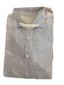 Mens Brunello Cucinelli dress shirt - Blue Black  check 2XL XXL - Cotton L/S
