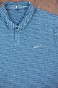 Nike Tiger Woods Dri-Fit Performance Polo Shirt Blue/Green Stripe Men's XL