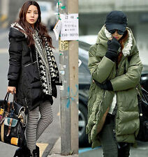 Q005 Winter Womens army Duck Down coat long jacket outwear padded trench parkas
