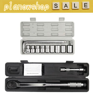"""Ratcheting Torque Wrench 1/2"""" 3/8"""" Square Socket Drive Extension Adjust 28-210Nm"""