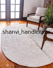 Oval Braided Rug White Colour Handwoven 5x8 Feet Area Rags Home Decor Floor Rugs