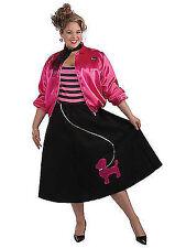 Womens 50s Poodle Black Skirt Pink Jacket Costume Set Fifties Adult Plus Size XL