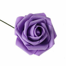50pc Fake Artificial Flowers Foam Roses stem Wedding Bride Bouquet Party Decor