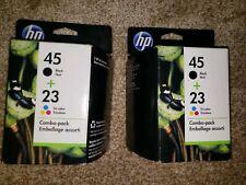 2-Genuine HP 45 Black + 23 Tri-color Printer Ink Cartridge Combo Pack Exp. 2013