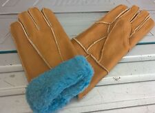 yellow ladies women 100% genuine real leather sheepskin gloves mittens winter
