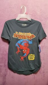 NEW♈Boy's Printed SS Knit T shirt by Marvel size XS~Charcoal/red spidey cover