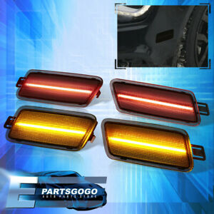 For 12-18 Audi A7 S7 RS7 C7 Smoke Front & Rear LED Bumper Sidemarker Lights Lamp
