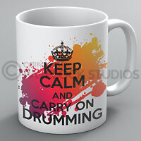 Keep Calm And Carry On Drumming Mug Drums Drummer Instrument Music Present Gift