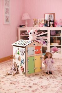 Busy board house for kids,girl & boy.Educational wooden busy cube.Montrssori toy
