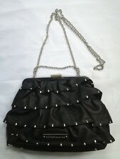 $258 BCBG MAX AZRIA BLack RUFFLED LEATHER CLUTCH/SHOULDER BAG Silver Chain