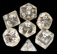 7 Piece Translucent Clear w/ Glitter Polyhedral Dice Set – Gray Bag