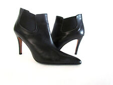 DESIGNER SACHA TOO BLACK LEATHER POINTY TOE HIGH HEEL ANKLE BOOTS 8.1/2 MED