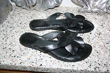 BORN SANDALS SLIDES THONGS WOMENS SIZE 8/39 BLACK LEATHER FLOWER
