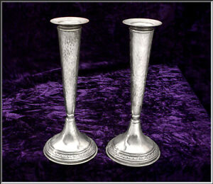 Pair Of Vintage Hammered 800 Silver Tall Candlesticks 98.40 Unweighted Gr  Each