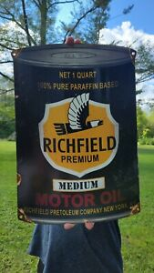 LARGE VINTAGE OLD RICHFIELD PREM MOTOR OIL GASOLINE METAL GAS STATION PUMP SIGN