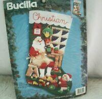 "Vintage Bucilla Christmas Stocking Kit Santa's Workshop Felt Applique 18"" 83200"