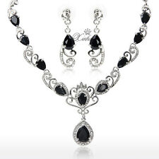 3 Colors Fashion Wedding Silver Plated Jewelry Sets Zircon Necklace Earring