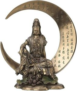 """Kwan Yin on Crescent Moon 41755 Cold Cast Bronze 7.75"""" H Goddess of Compassion"""
