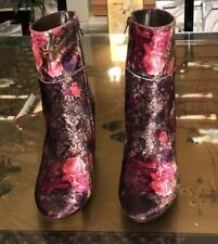 Summit By White Mountain Velvet Floral Ankle Boot Sz 38